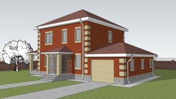 Двухэтажный дом с гаражом по проекту Афины