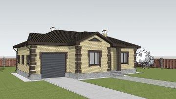 """Одноэтажный дом с гаражом по проекту """"Брусника"""""""