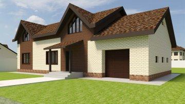 Проект дома с мансардой и с гаражом
