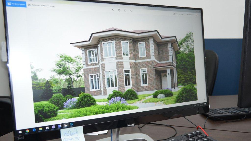 Проект дома на мониторе архитектора Веванта