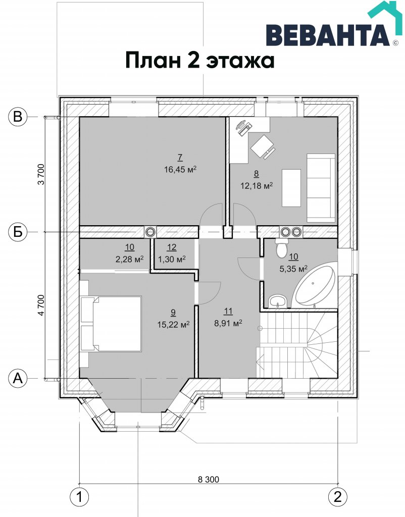 План 2 этажа Имение Волокитиных