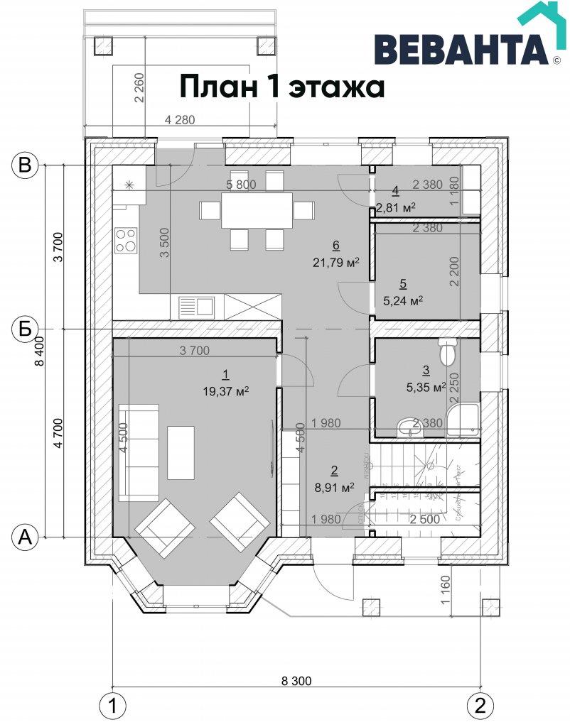 План 1 этажа Имение Волокитиных