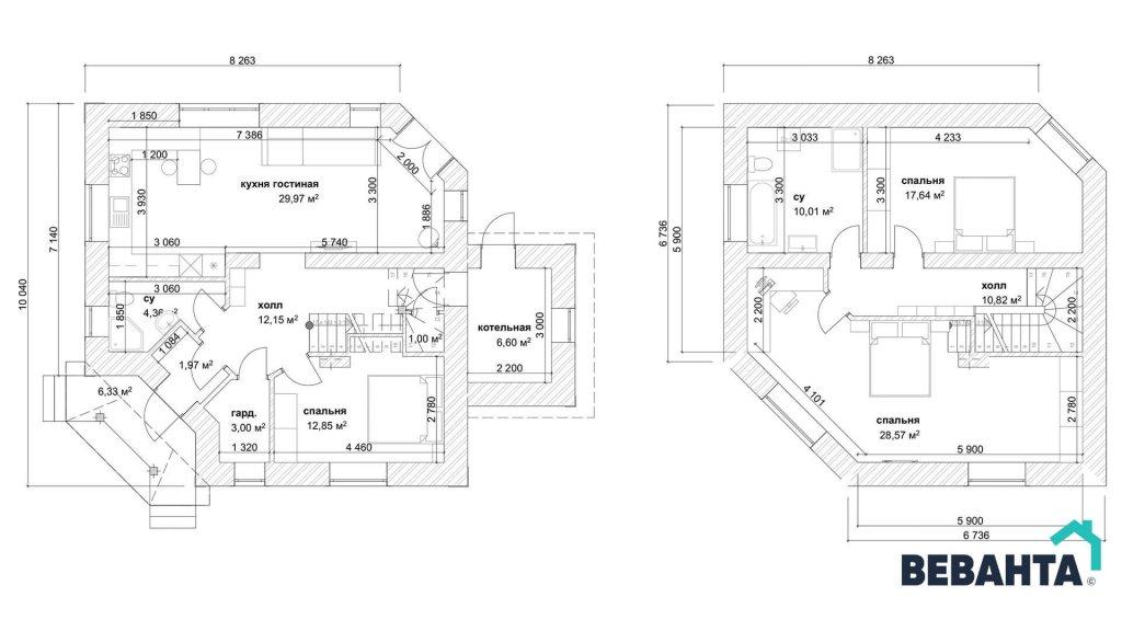 Планировка дома Зевс от компании Веванта