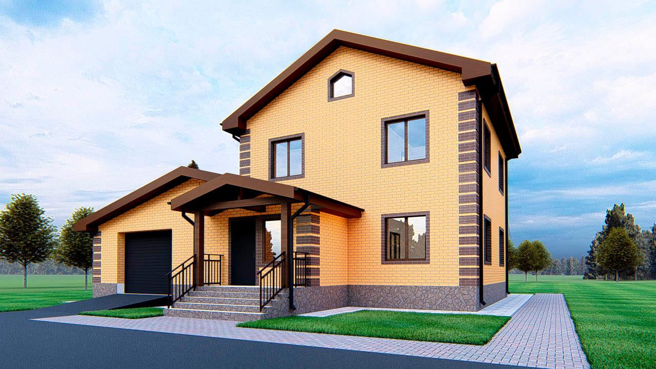 фото небольших двухэтажных домов с гаражом норме