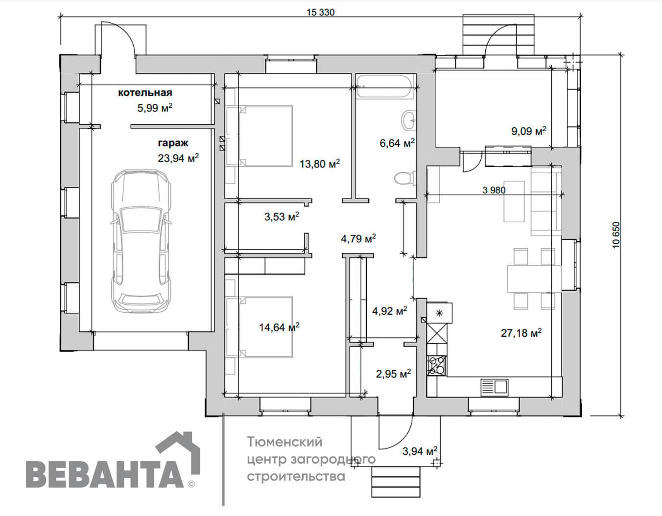 планировка проекта Брусника с гаражом